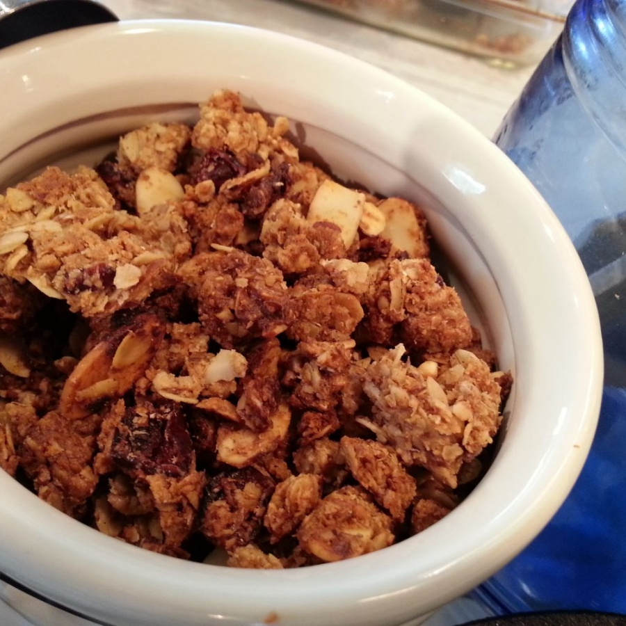 Completed Peanut Butter Granola ready to be stored in its airtight container.