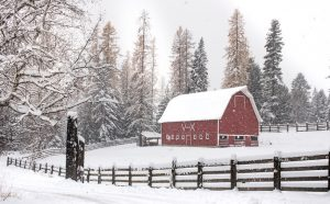 Old Red Barn in the snow