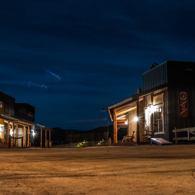 Tombstone Monument Ranch street at night