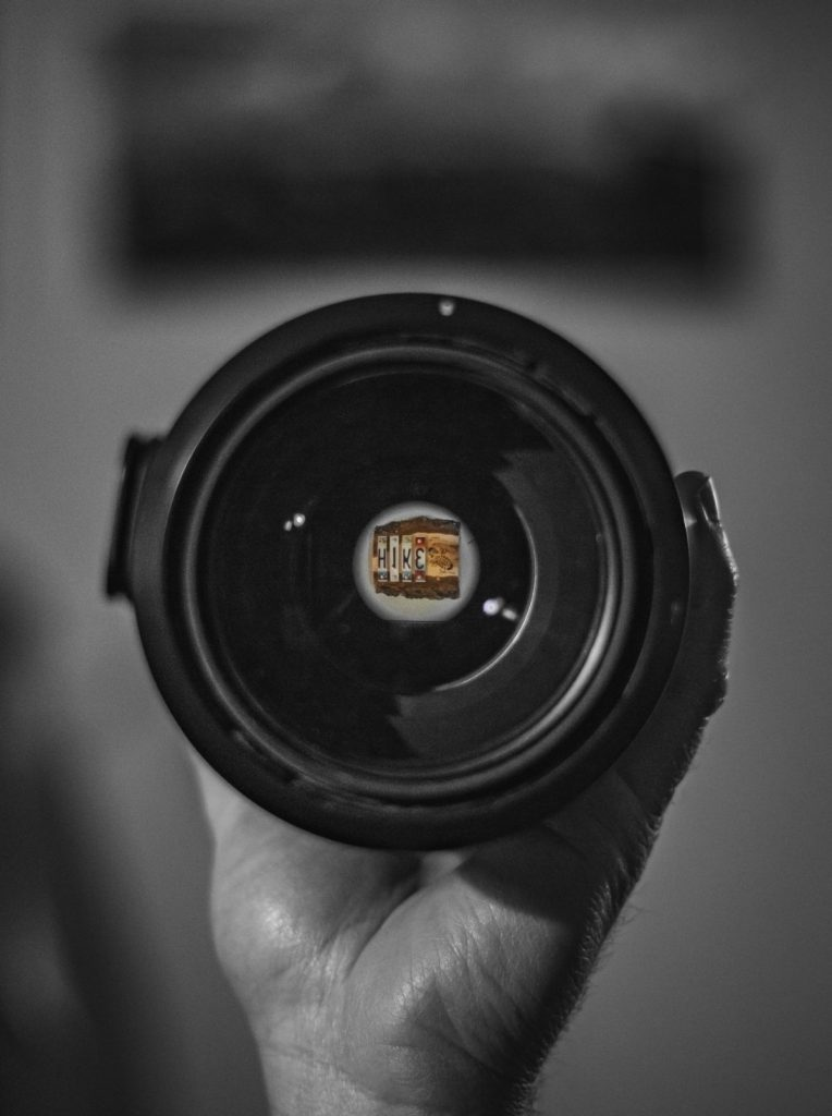 Camera lens with image seen through lens